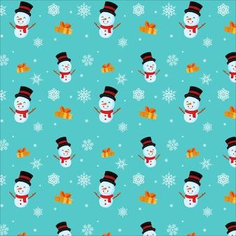 Fröhliche weihnachten. nahtloses schneemannmuster.