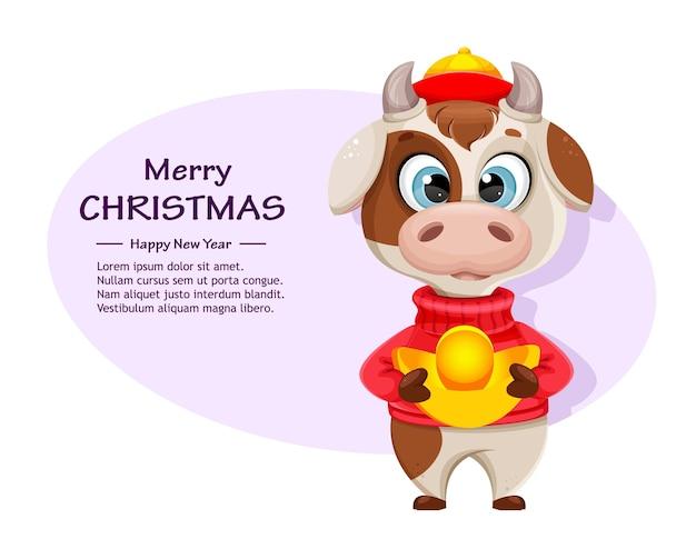 Fröhliche weihnachten. netter stier im pullover