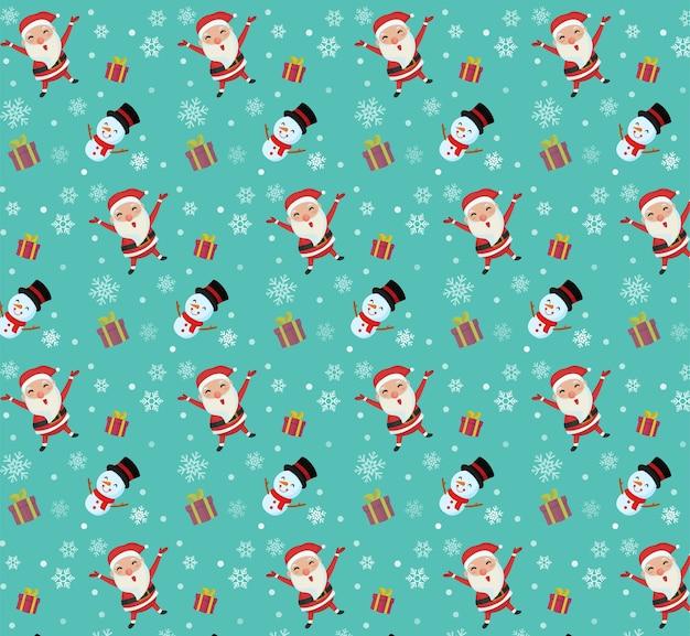 Fröhliche weihnachten. sankt- und schneemann-muster für weihnachtstag.