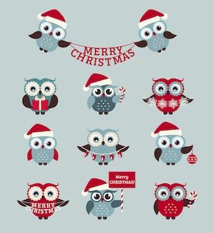 Fröhliche weihnachten! satz niedliche eulen für feiertagsentwurf.