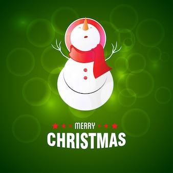 Fröhliche weihnachten. tragende kappe des schneemannes auf grünem hintergrund