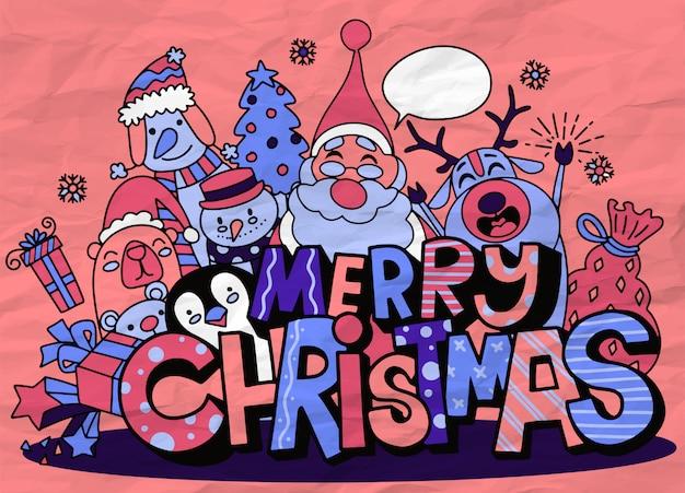 Fröhliche weihnachten! weihnachtsnetter charakter und nettes alphabet