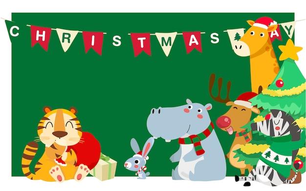 Fröhliche weihnachten. weihnachtsnetter tier-charakter. frohe weihnachten gefährten.
