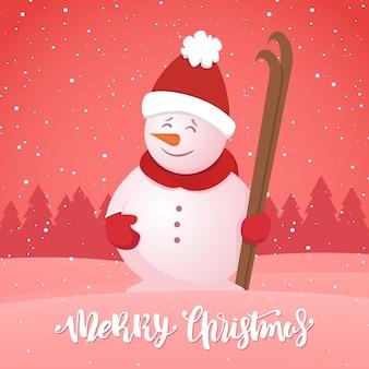 Fröhliche weihnachten. wintergrußkarte mit schneemann mit ski auf schneebedecktem waldhintergrund.