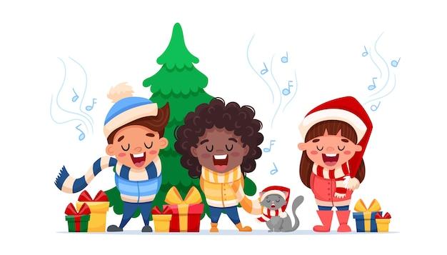 Fröhliche weihnachten. zeichentrickfiguren, multinationale kinder und katze singen weihnachtslieder isoliert