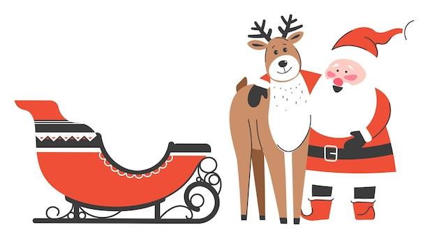 Fröhliche weihnachtsfiguren warten auf neujahr und weihnachtsfeier. weihnachtsmann umarmt rentiere, die schlitten bereitstehen. lustige persönlichkeiten, die die winterzeit am nordpol genießen. vektor im flachen stil