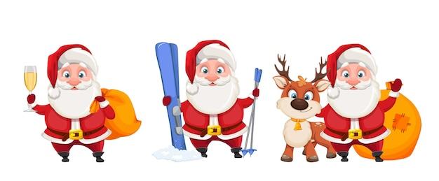 Fröhliche weihnachtsmann-zeichentrickfigur, satz von drei posen