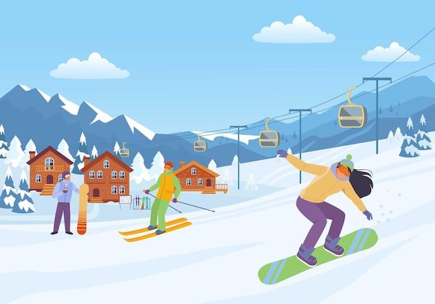 Fröhliche wintersportillustration