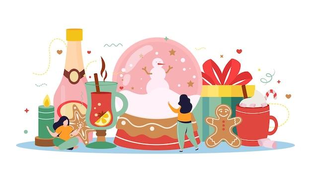 Fröhliche winterwohnungskomposition mit bildern von geschenkkerzen, heißen getränken und süßigkeiten mit menschlichen charakteren