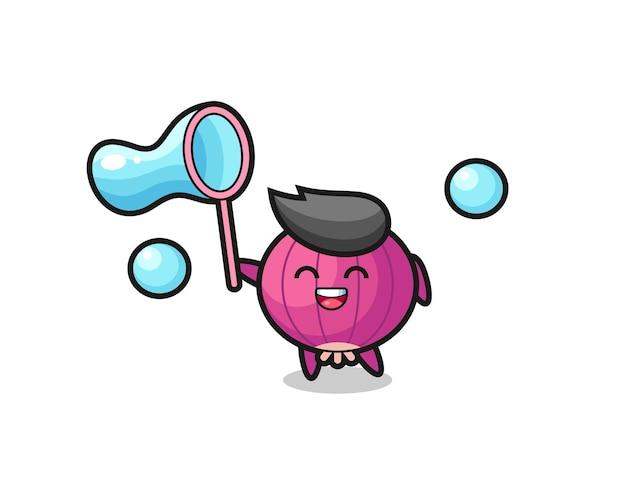 Fröhliche zwiebelkarikatur, die seifenblase spielt, niedliches design für t-shirt, aufkleber, logo-element