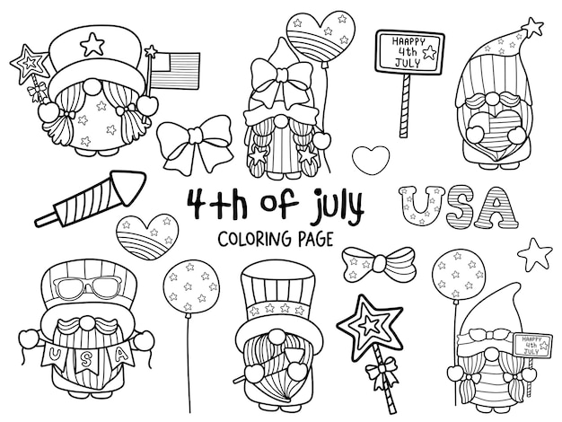Fröhlichen 4. juli mit gnome coloring page Premium Vektoren