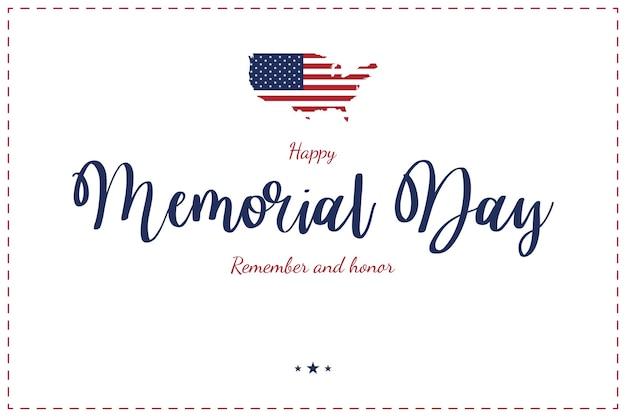 Fröhlichen gedenktag. grußkarte mit usa-karte und flagge auf weiß.