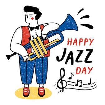 Fröhlichen jazz-tag. performance eines musikers. vektorillustration für den internationalen jazztag