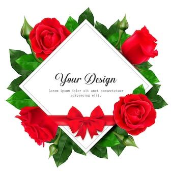 Fröhlichen valentinstag. grußkarte mit realistischer roter rose,