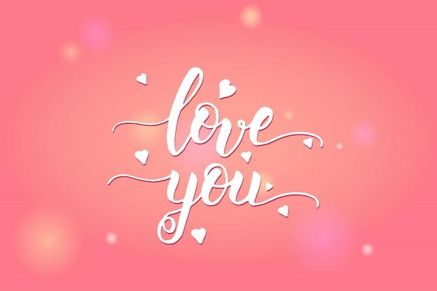 Fröhlichen valentinstag. ich liebe dich - handschrift inspirierend und motivierend zitat.