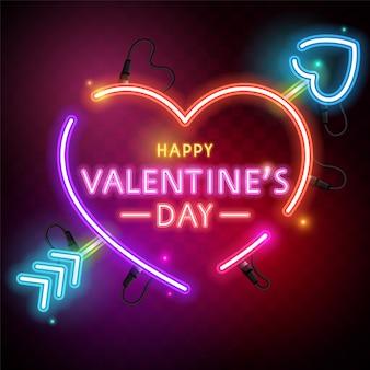 Fröhlichen valentinstag. illustration auf dunklem hintergrund. leuchtendes neon