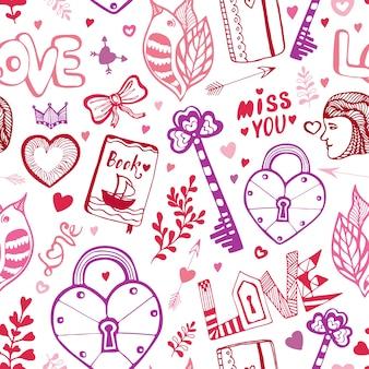 Fröhlichen valentinstag. nettes gekritzelmuster mit herzen, beschriftung und anderen vektorelementen