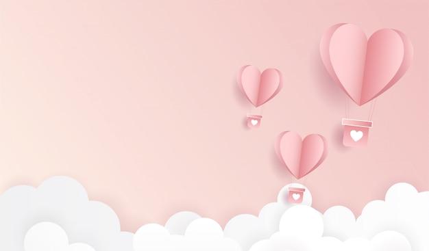 Fröhlichen valentinstag. origami ließ heißluftballon fliegen