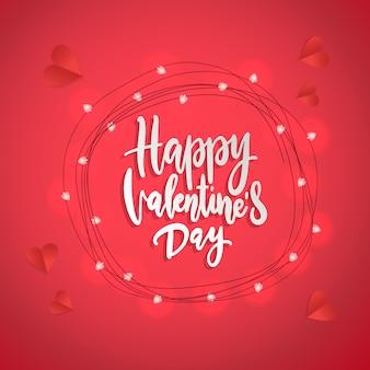 Fröhlichen valentinstag. pinsel schriftzug grußkarten inschrift handgefertigt