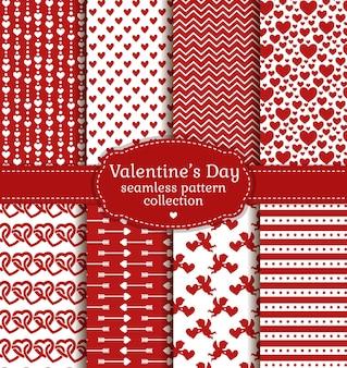 Fröhlichen valentinstag! satz liebe und romantische hintergründe. sammlung nahtloser muster mit weißen und roten farben.