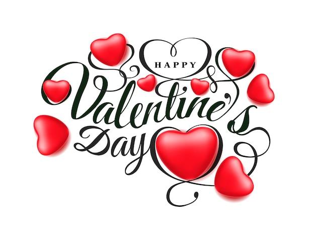 Fröhlichen valentinstag. schriftkomposition mit schönen realistischen roten herzen 3d lokalisiert auf weißem hintergrund. romantische illustration des vektorfeiertags.