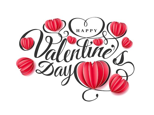 Fröhlichen valentinstag. schriftzusammensetzung mit roten papierherzen lokalisiert auf rosa hintergrund. vektor schöne urlaub romantische illustration. papier bastelstil.