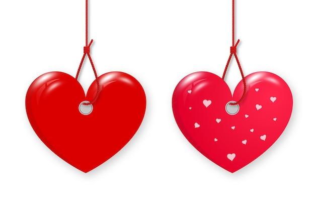 Fröhlichen valentinstag. setze rote herzen auf das seil.