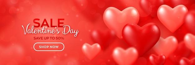 Fröhlichen valentinstag. valentinstag-verkaufsfahne mit roten und rosa luftballons 3d herzen.