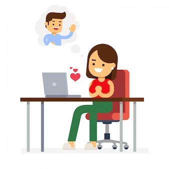 Fröhlichen valentinstag. verliebtes pärchen. mann hinter einem schreibtisch mit einem computer erhält valentine