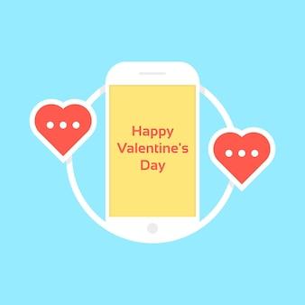Fröhlichen valentinstag wie messaging. konzept von brieffreundschaft, rendezvous, gadget, gerät, affäre, flirt, verbindung, anruf. auf blauem hintergrund isoliert. flacher stiltrend moderne logo-design-vektor-illustration