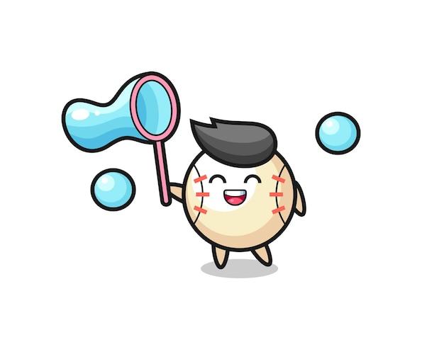 Fröhlicher baseball-cartoon, der seifenblase spielt, niedliches design für t-shirt, aufkleber, logo-element