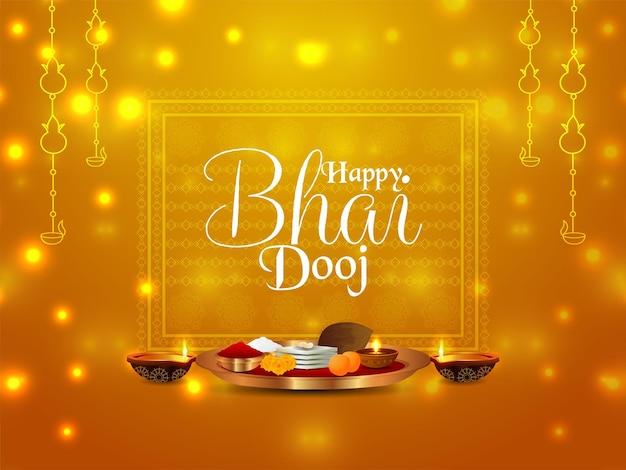 Fröhlicher bhai dooj-feierhintergrund mit kreativen puja-tellern