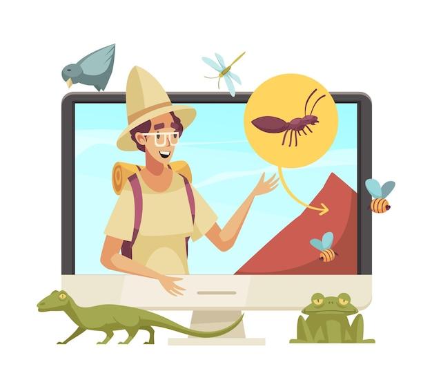 Fröhlicher blogger-charakter, der über insekten und tiere im online-cartoon erzählt