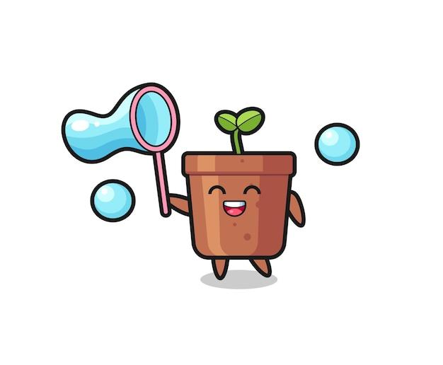 Fröhlicher blumentopf-cartoon, der seifenblase spielt, niedliches design für t-shirt, aufkleber, logo-element