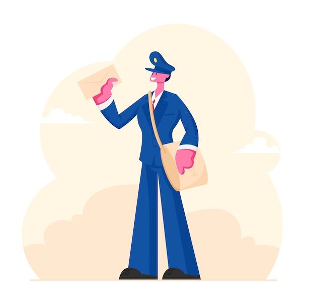 Fröhlicher briefträger, der uniform und mütze mit tasche auf schulter hält, der brief in der hand hält. karikatur flache illustration