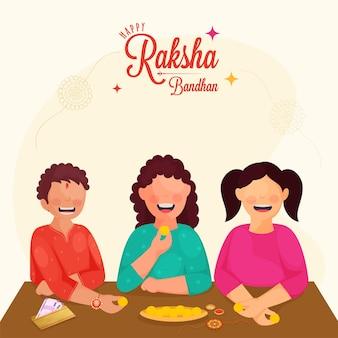 Fröhlicher bruder und schwestern, die anlässlich des happy raksha bandhan-konzepts süßigkeiten genießen.