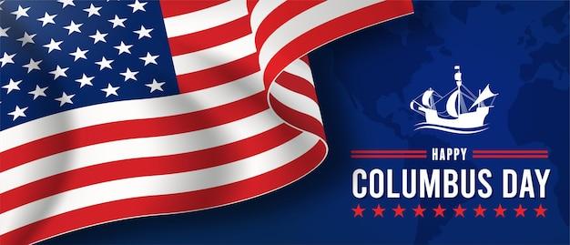 Fröhlicher columbus-tag mit wehender amerikanischer nationalflagge und segelboot. vektor