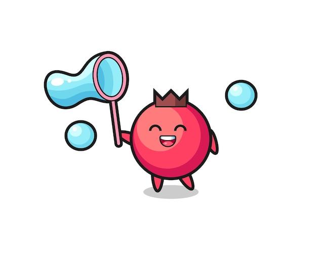 Fröhlicher cranberry-cartoon, der seifenblase spielt, niedliches design für t-shirt, aufkleber, logo-element