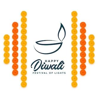 Fröhlicher diwali-gruß mit blumendekoration