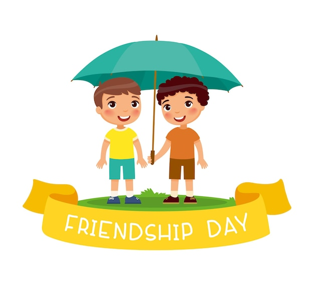 Fröhlicher freundschafts-tag. zwei süße kleine jungs stehen mit einem regenschirm glückliche schule