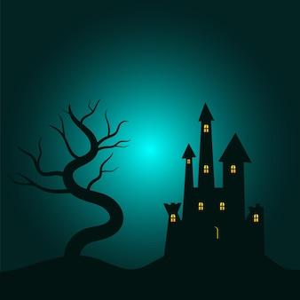 Fröhlicher halloween-feiertagspartyhintergrund mit spukschloss auf hügeln und baum mit kopienraum oben