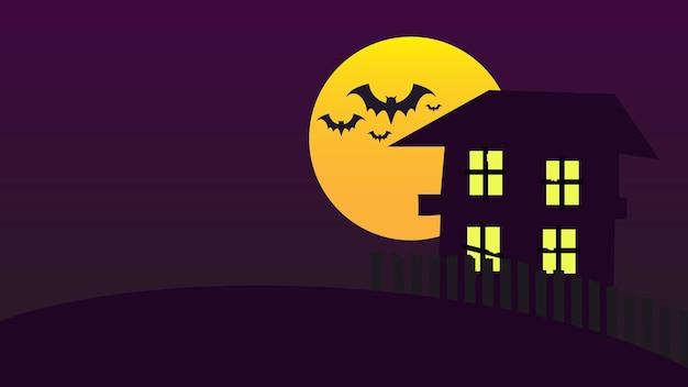 Fröhlicher halloween-feiertagspartyhintergrund mit vollmond und fledermäusen im nachthimmel über dem spukhaus