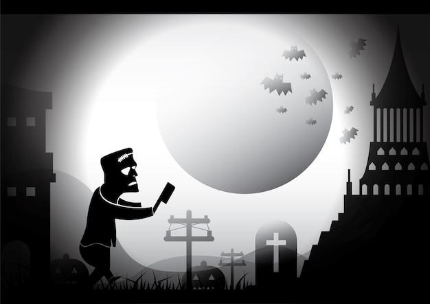 Fröhlicher halloween-frankenstein-monstercharakter mit dunkler nachtburg und mondkonzeptillustration