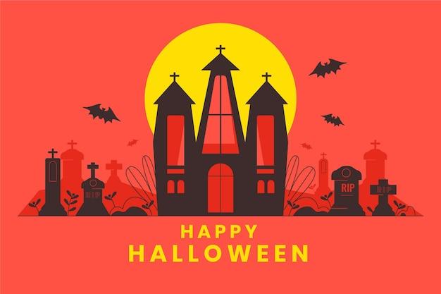 Fröhlicher halloween-gruß mit handgezeichneter kirche und friedhof