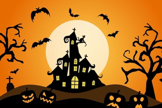 Fröhlicher halloween-hintergrund mit bates-kürbistrockenes baumschloss mit gruseligem nachtmond