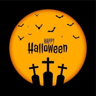 Fröhlicher halloween-hintergrund mit grab und fledermäusen