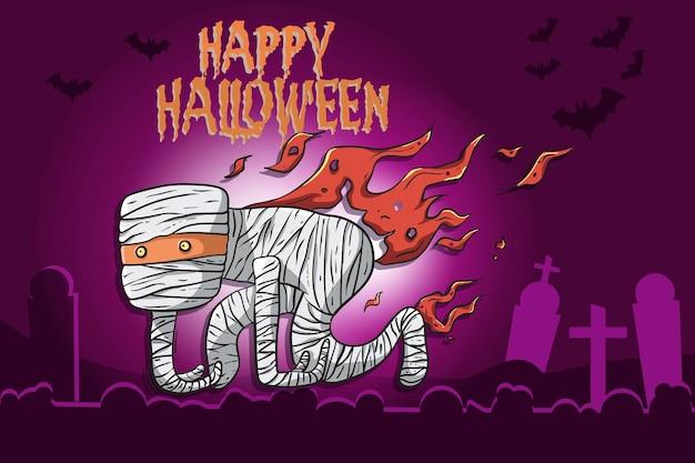 Fröhlicher halloween-hintergrund mit süßen mumienfiguren