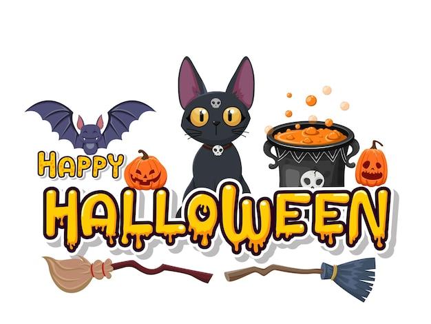 Fröhlicher halloween-kürbis, katze, schädel, fledermaus, besen, hexenkessel. konzeptkarikatur-halloween-tageselemente. vektor-clipart-illustration