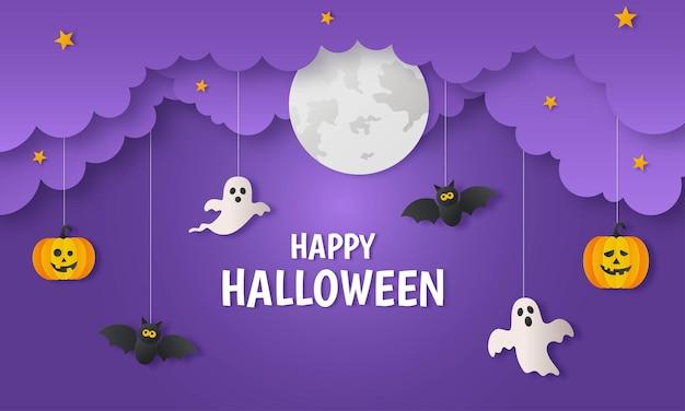 Fröhlicher halloween-kürbis mit geistern und fledermauspapier-kunststil auf lila hintergrund