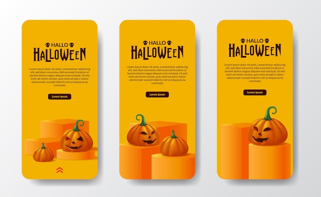 Fröhlicher halloween-tages-süßes oder saures poster-banner-social-media-geschichten mit 3d-laternenkürbis-monster-orange mit zylinder- und würfelbühnen-podium-display